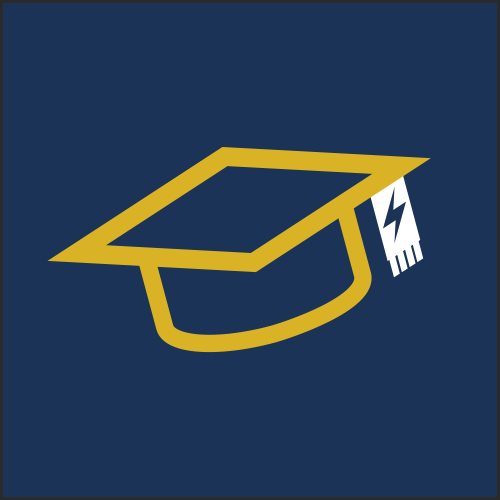 Image is a graphic, showing the outline of a graduation cap in a mustard yellow colour, on a plain navy blue background.
