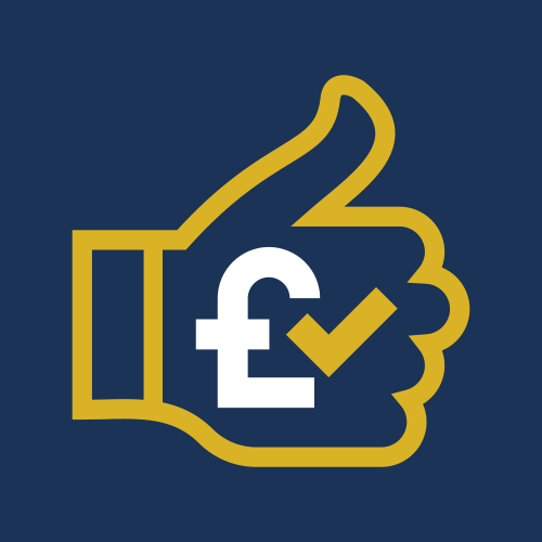 Image is a graphic, showing the outline of a hand giving a thumbs up, with a bold white pound sign and a check tick in a mustard yellow colour, on a plain navy blue background.
