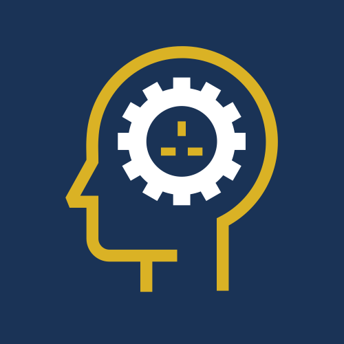 Image is a graphic, showing the outline of a head in profile, with a bold white cog with a 3 pin plug in the centre in a mustard yellow colour, on a plain navy background.
