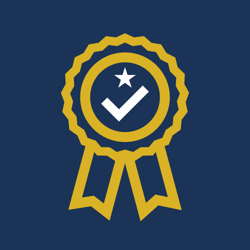 Image is a graphic, showing the outline of an award rosette in a mustard yellow colour, with a bold white tick and star, on a plain navy background.