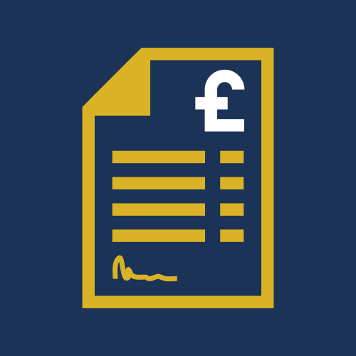 Image is a graphic, showing the outline of a sheet of paper in a mustard yellow colour, with a bold white pound sign to the top right corner, on a plain navy background.
